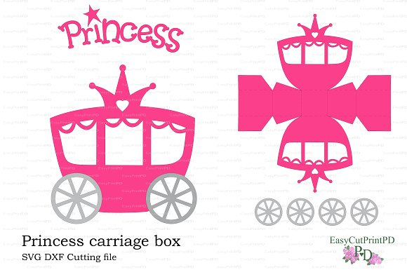 Princess Carriage Box Template Invitation Templates Creative Market