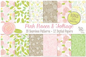 Pink Roses+ Patterns+Digital Papers