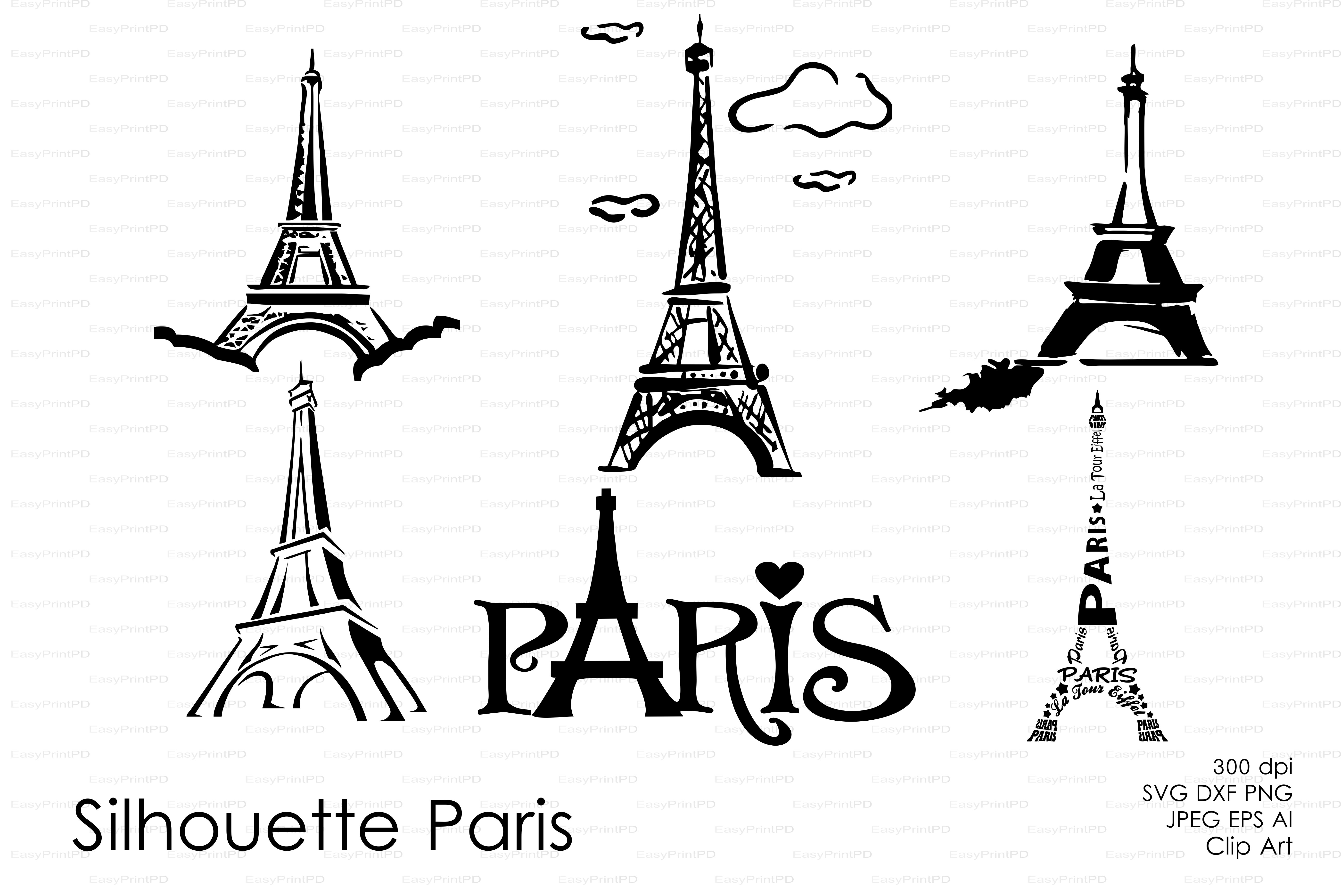 Silhouette Paris Eiffel Tower Vector Graphic Objects