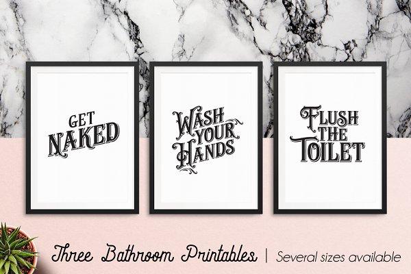 Vintage Bathroom Printable Art Vol…