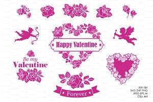 Floral wreath clip art Valentine's