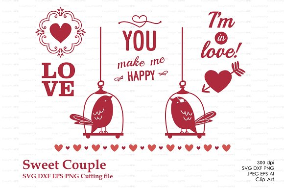 Birds Love Sweet Couple Pre Designed Illustrator Graphics Creative Market