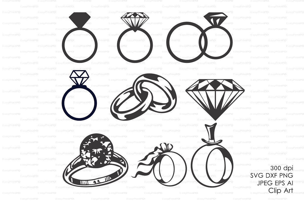 Wedding Diamond rings Vectors