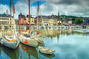 Honfleur panorama with harbor