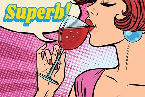 super reaction. Woman drinking red wine