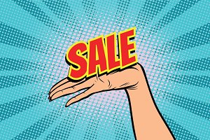 sale word. Women open palm hand hold gesture