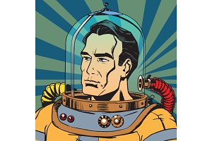 Avatar portrait of a retro astronaut man