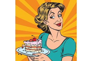 avatar portrait woman with a piece of cake