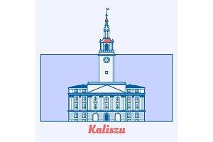 Poland Municipal house illustration in line art design. Ratusz w Kaliszu landmark emblem in linear style.