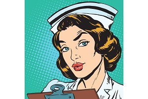 avatar portrait of a retro nurse