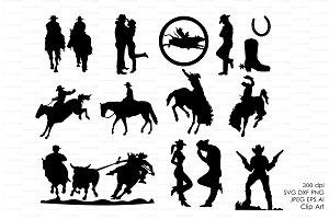 Cowboy Western Silhouettes Clip art