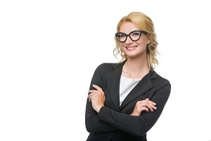 Beautiful business lady in glasses
