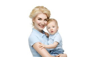 Beautiful young woman with toddler