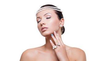 Beautiful girl with pearls
