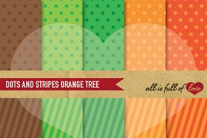 Orange Dots Stripes Digital Patterns
