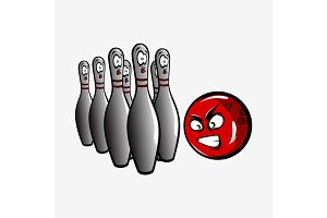 Cartoon bowling ball and pins