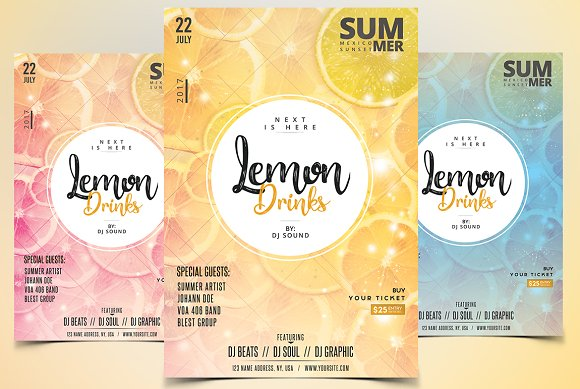 Lemon Drinks PSD Flyer Template