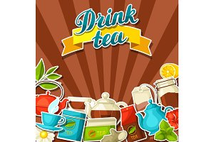 Background with tea and accessories, packs and kettles