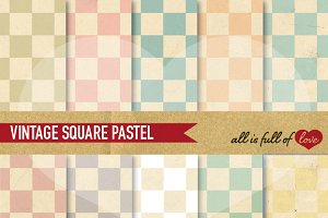 Pastel Square Patterns Vintage Style