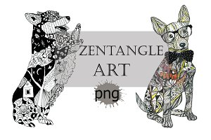 Zentangle dog art