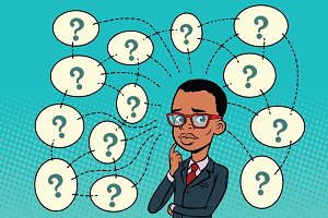African man solves the problem, questions and reflections