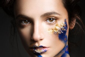 beautiful fashion woman color  face art