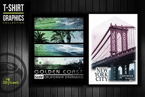 NYC & California tee shirt graphics