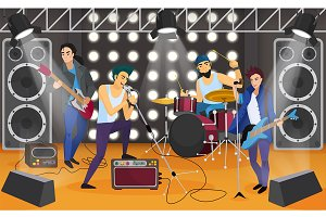 Rock band + isolated characters