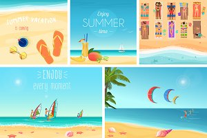 Summer vacations illustrations set