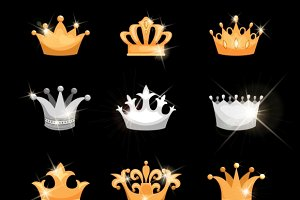 Gold and silver crowns icons set