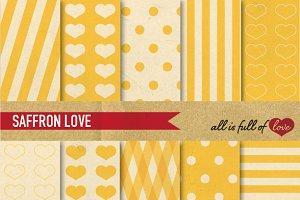 Saffron Yellow Printable Retro Paper