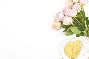 Pink Roses Desk Mockup Photo 1
