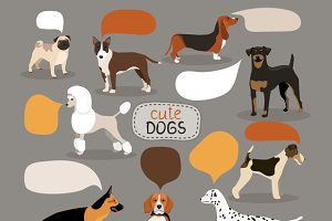 Dog breeds with speech bubbles