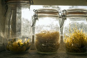 Three glass jars with paste