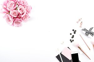 Pink & Black Rose Desktop Mockup 4