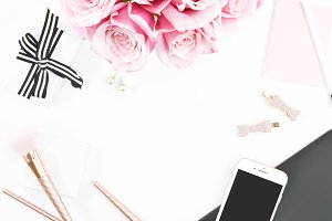 Pink & Black Rose Desktop Mockup 6