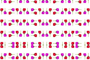 Floral Stripes Collage Pattern