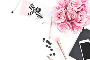 Pink & Black Rose Desktop Mockup 10