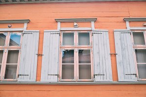 European windows in pale blue
