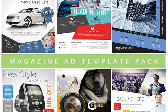 6in1 Magazine Ad Template Pack