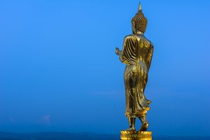 Buddha standing on a mountain