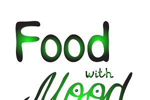 Food with mood lettering, green