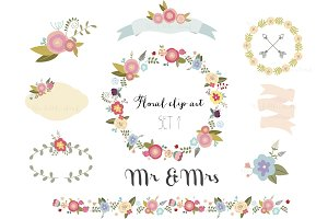 Pretty floral clip art set