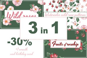 3 in 1 watercolor wild roses set
