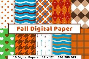 Fall Digital Paper, Autumn Scrapbook