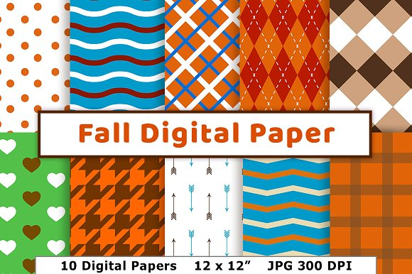 Fall Digital Paper Autumn Scrapbook