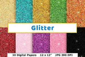 Glitter Digital Paper, New Year's