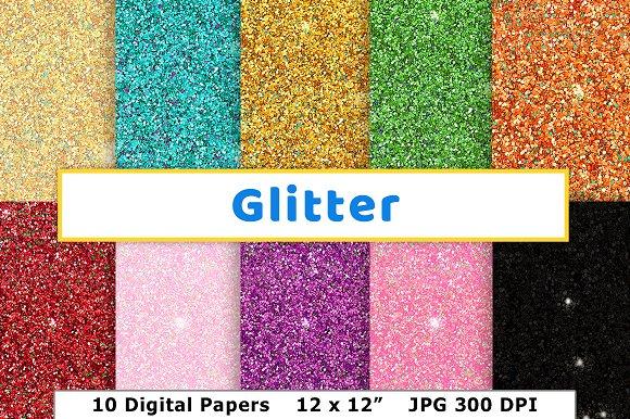 Glitter Digital Paper New Year's