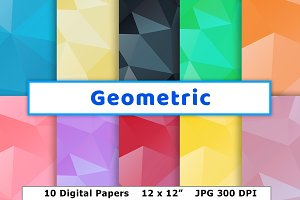 Geometric Digital Paper, Low-Poly