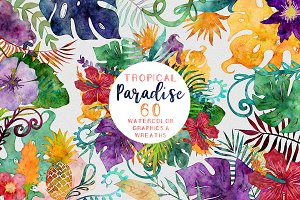 Tropical Watercolor Graphics Bundle